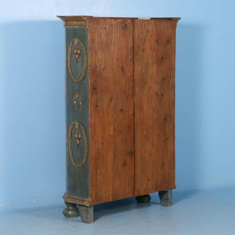 Hungarian Antique Armoire From Hungary With Original Blue/Grey Paint, Dated  1809 For Sale
