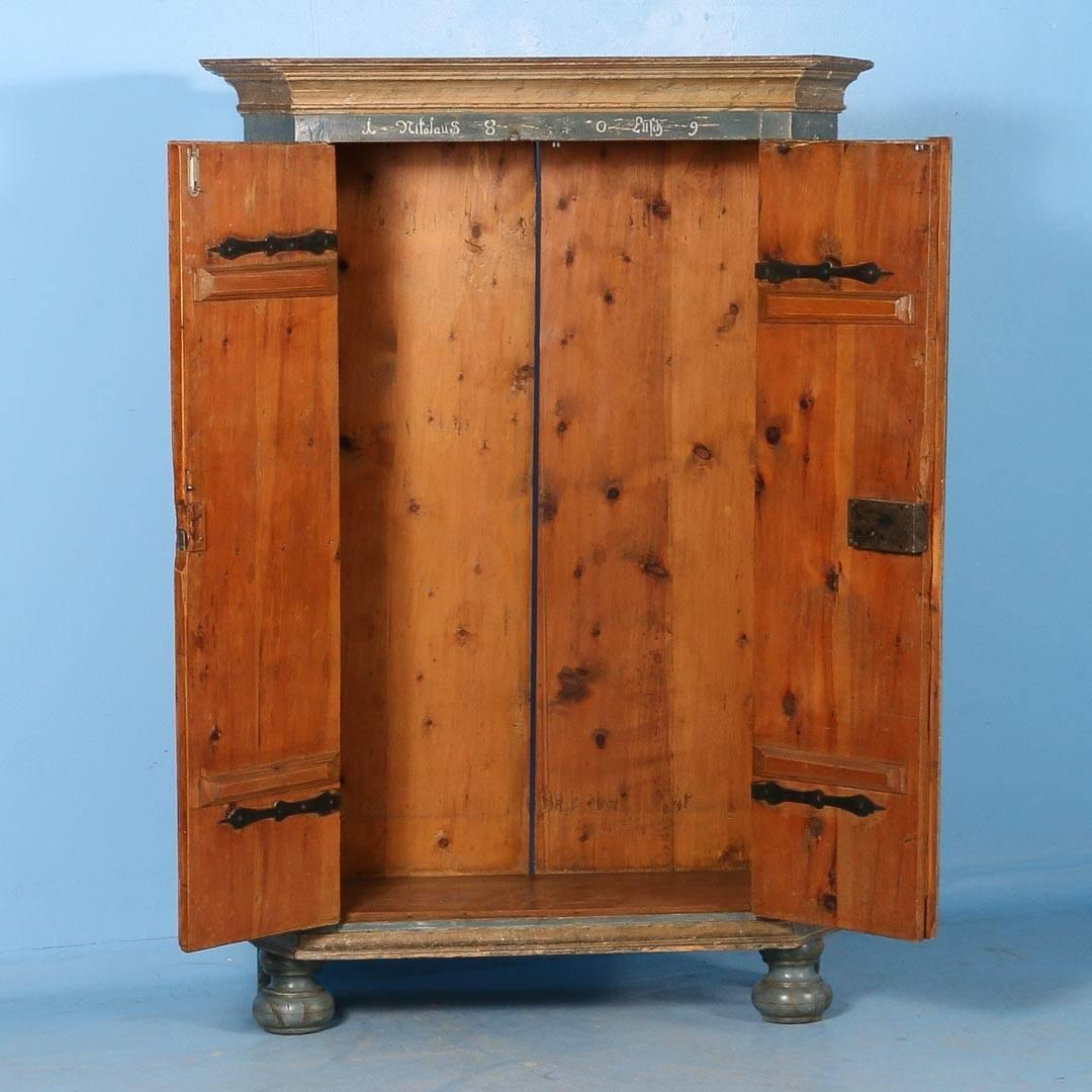 Antique Armoire From Hungary With Original Blue/Grey Paint
