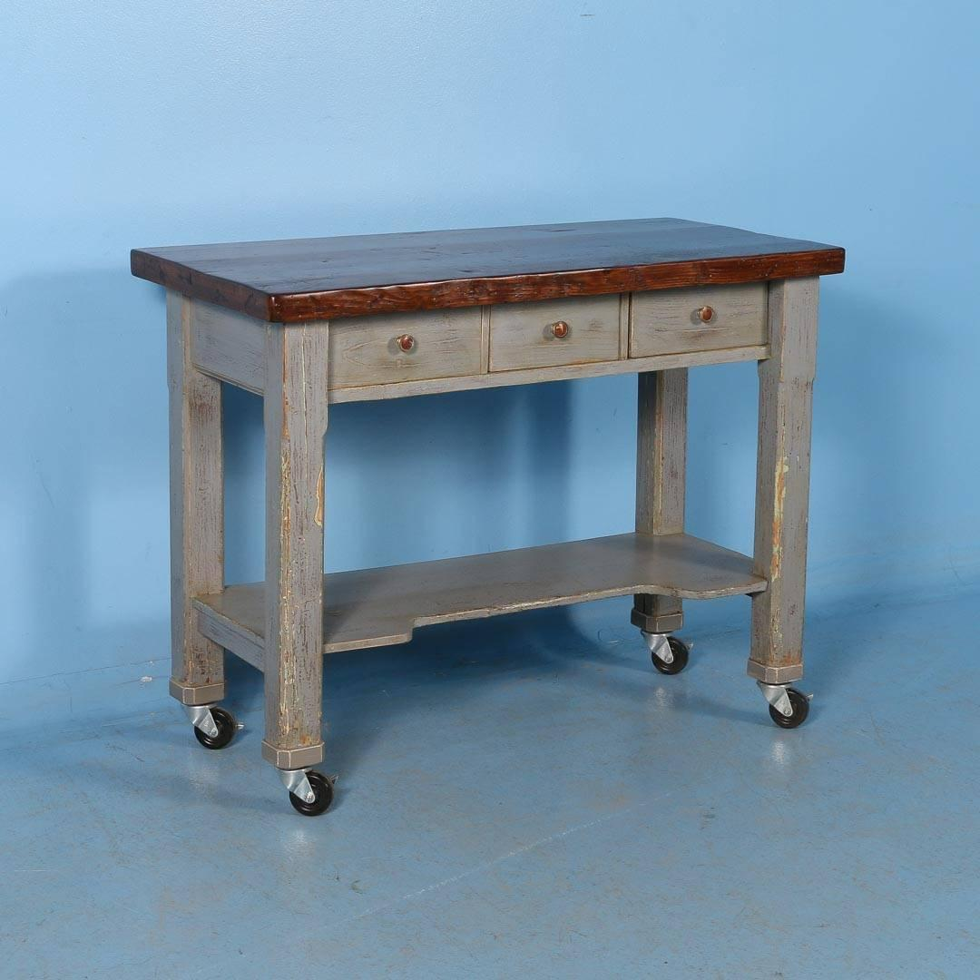 Antique Original Grey Painted Kitchen Island on Casters, Sweden ...