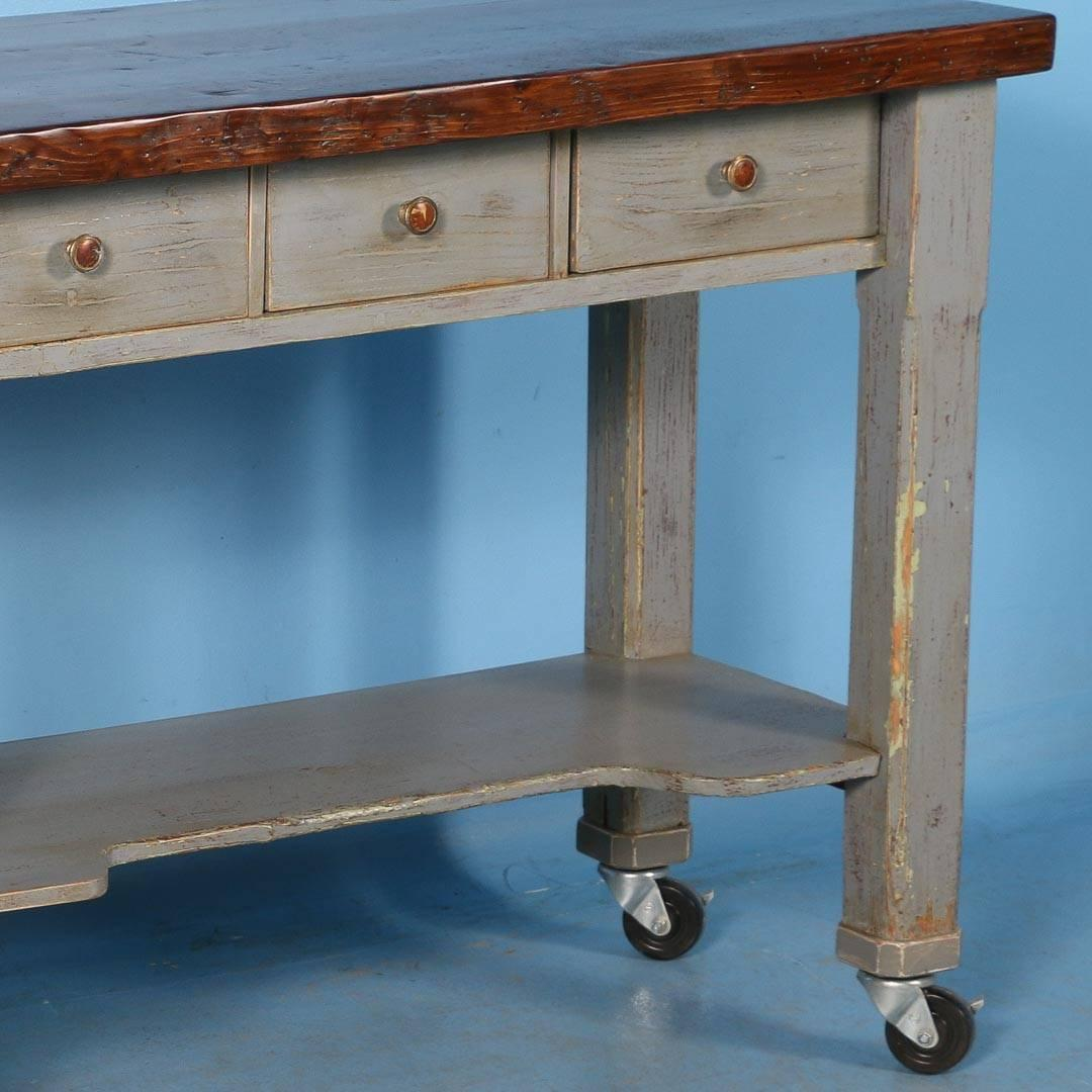 antique original grey painted kitchen island on casters