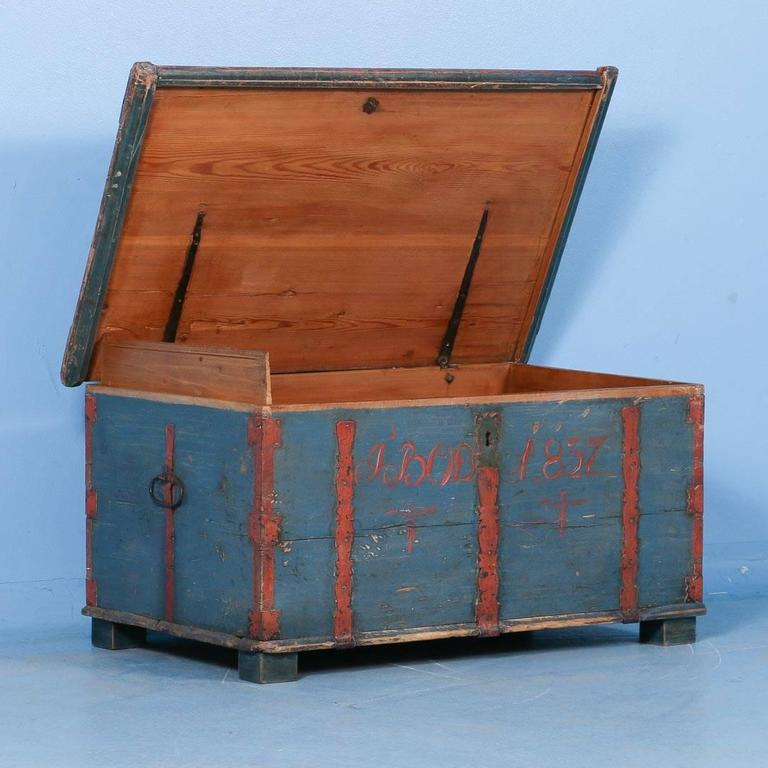 Antique Originally Painted Blue Swedish Trunk Dated 1837