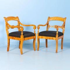 Stunning Pair of Antique Karl Johan Swedish Birch Armchairs, circa 1840