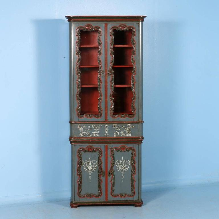 This antique carved and painted display cabinet from Denmark is made in 2  parts. The - Antique Display Cabinet With Original Paint From Denmark, Circa 1860