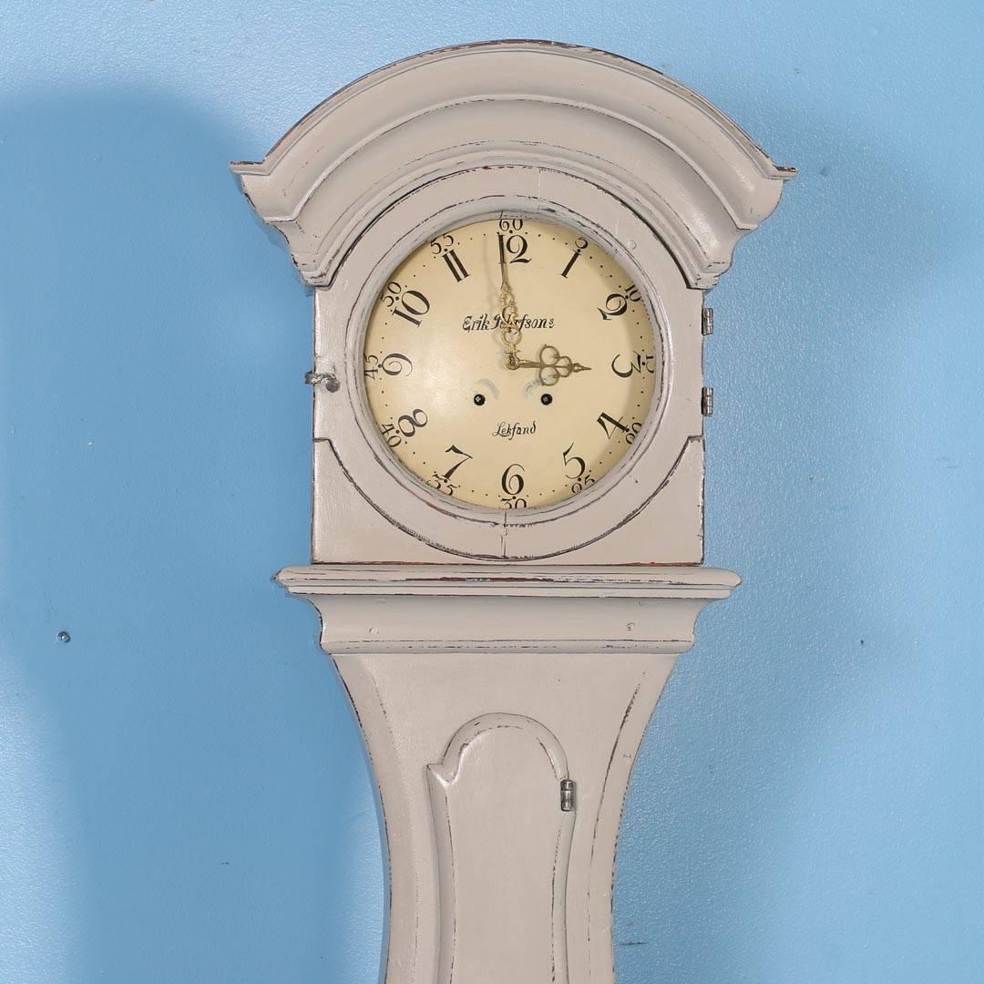 Antique Grey Swedish Mora Grandfather Clock, Circa 1820