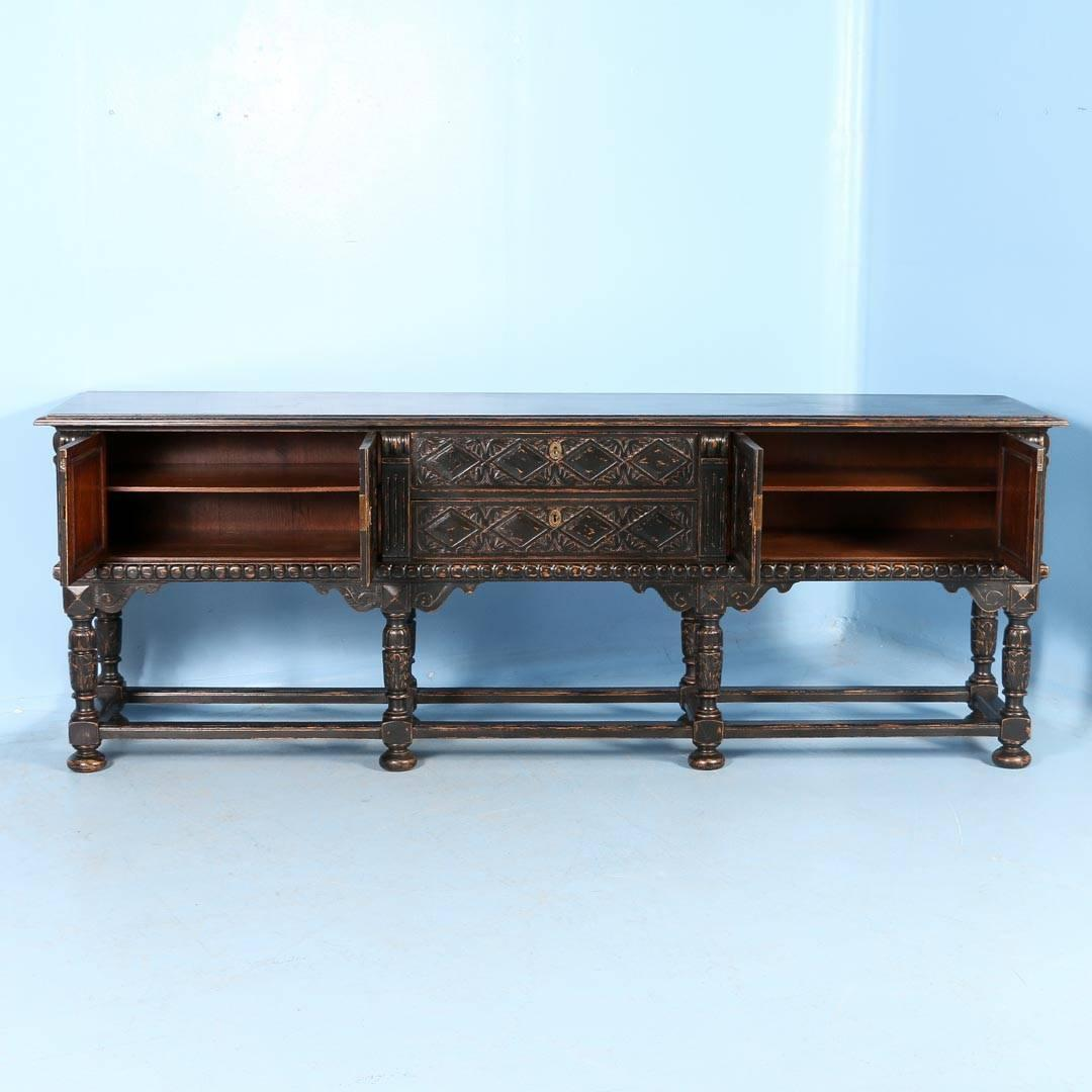 Antique English Long Carved Buffet Sideboard Painted
