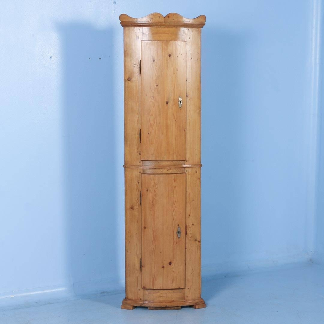 Antique Pine Bowed Front Narrow Corner Cabinet from Denmark, circa 1860 at  1stdibs - Antique Pine Bowed Front Narrow Corner Cabinet From Denmark, Circa