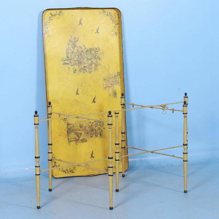 Antique Italian Metal Coffee Table With Original Yellow