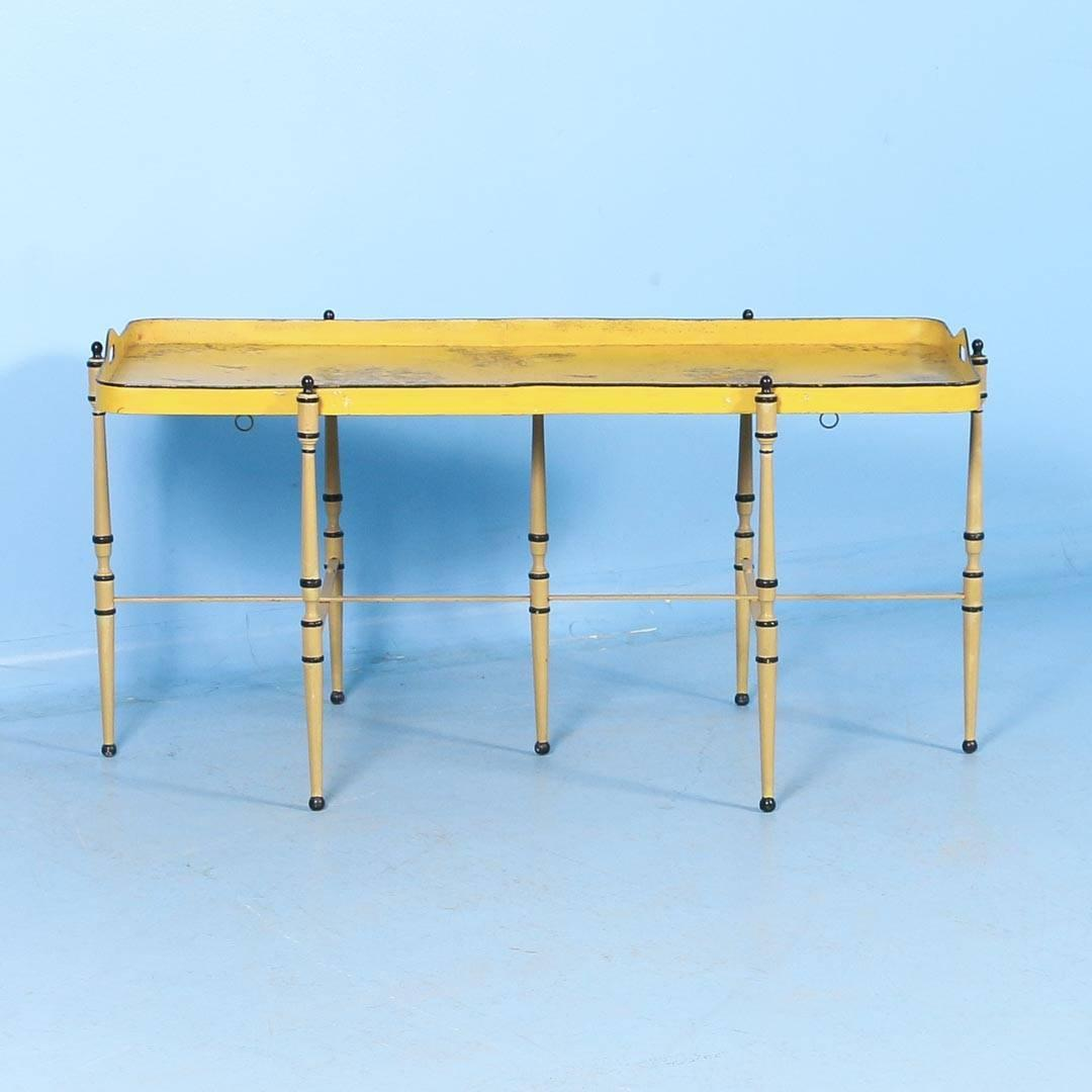 Antique italian metal coffee table with original yellow for Yellow painted table