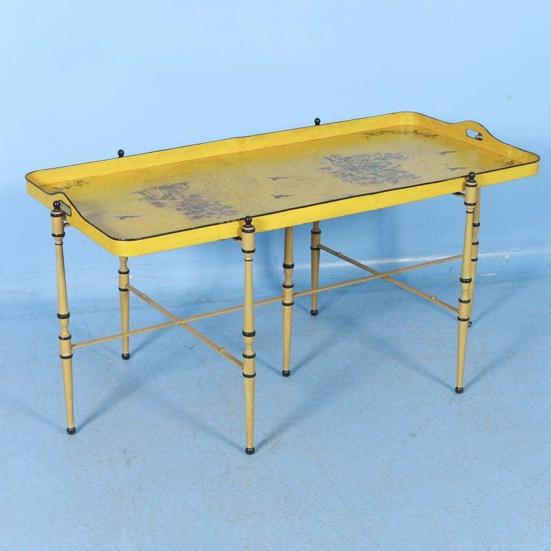 Antique Italian Metal Coffee Table With Original Yellow