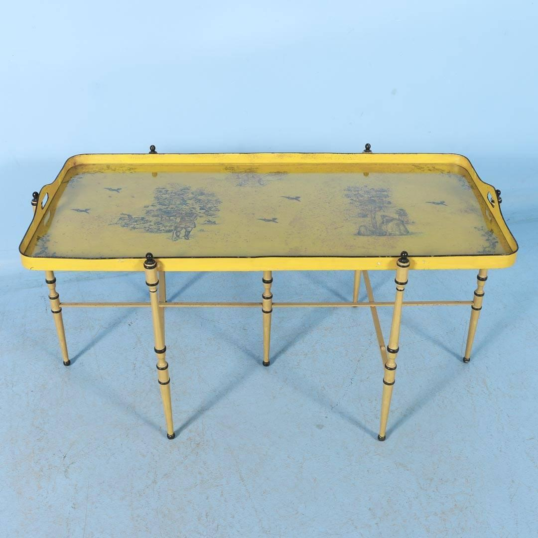 Antique Italian Metal Coffee Table With Original Yellow Paint At 1stdibs
