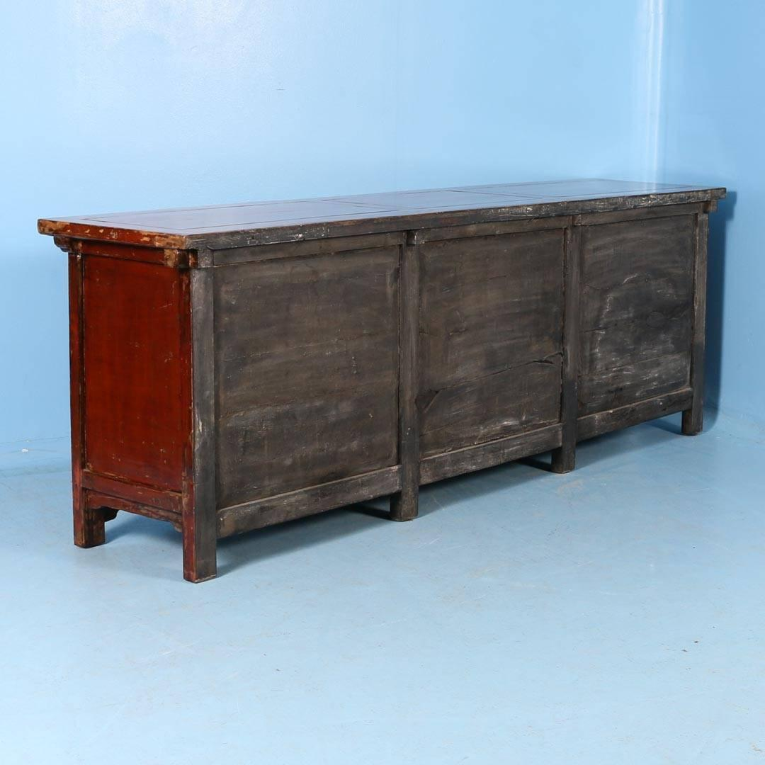 Antique red lacquered chinese 9 39 sideboard circa 1800 for for Red chinese furniture
