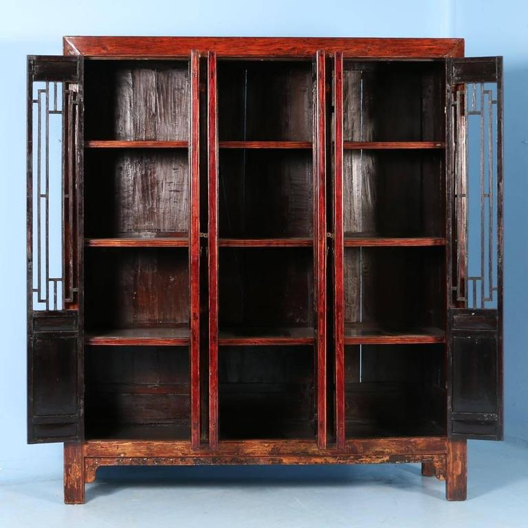 Chinese Antique Red Lacquered Six Door Bookcase Cabinet From China Circa 1840 1860