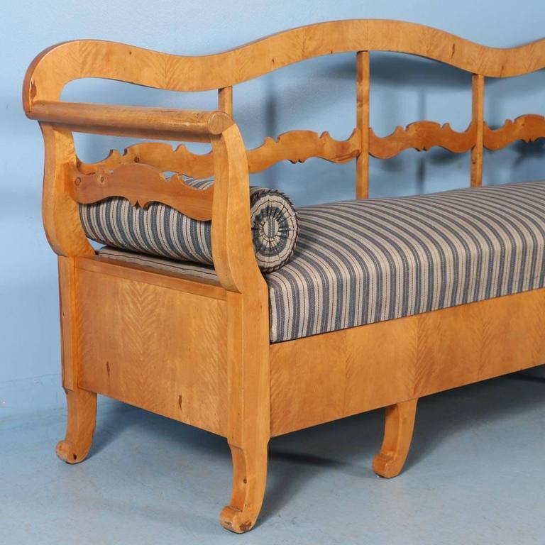 Swedish Antique Karl Johan Yellow Birch Bench Sofa From Sweden, circa 1840-1860 For Sale