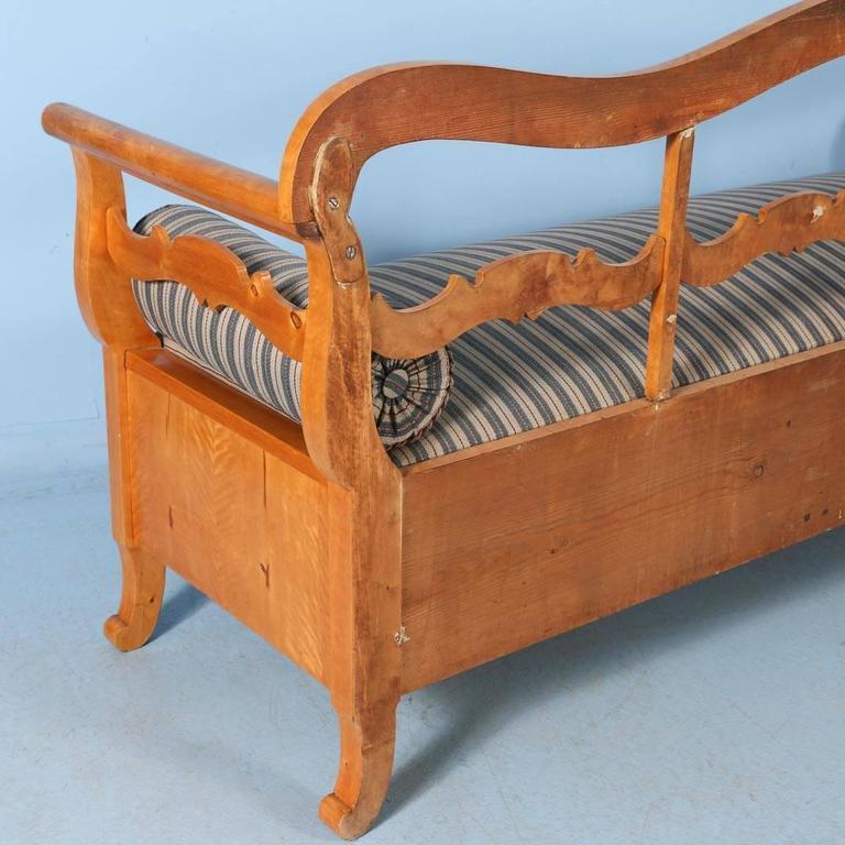 Antique Karl Johan Yellow Birch Bench Sofa From Sweden, circa 1840-1860 For Sale 5