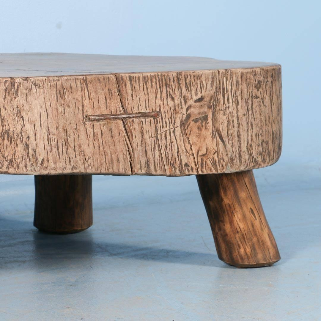 Vintage Wood Slab Coffee Table At 1stdibs: Rustic Antique Coffee Table Made From Large Slab Of Wood