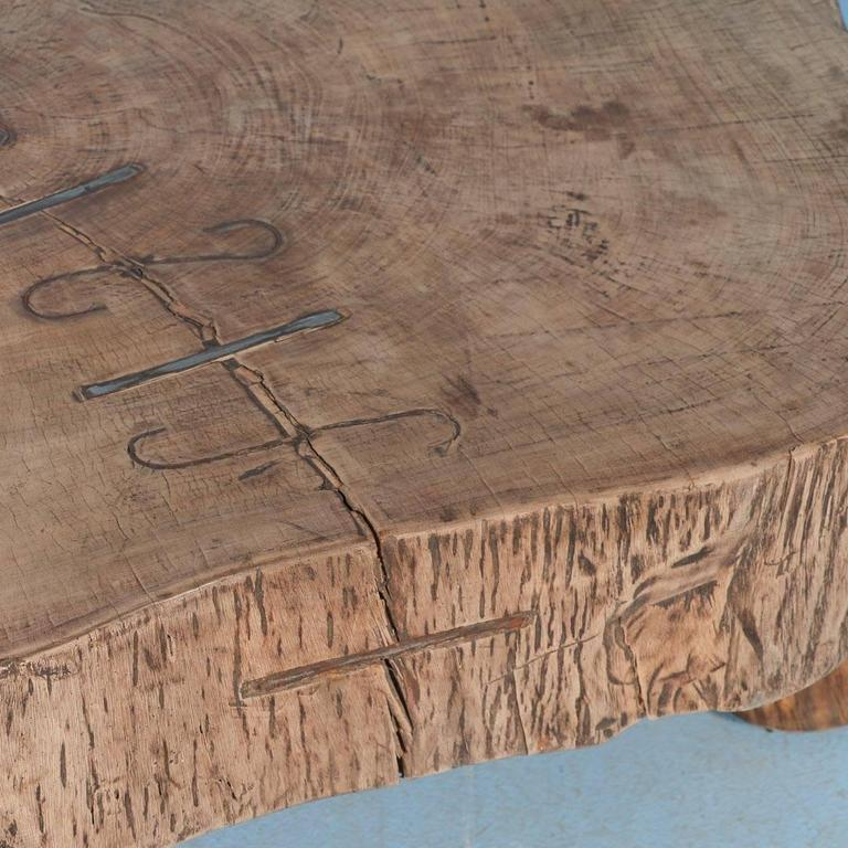 Rustic Vintage Tree Slab Coffee Table For Sale At Stdibs: Rustic Antique Coffee Table Made From Large Slab Of Wood