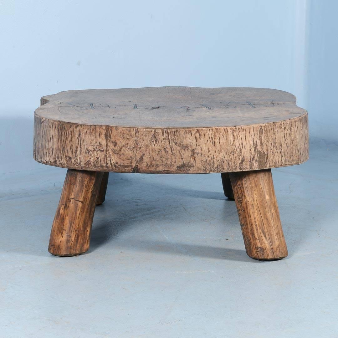 Vintage Handmade Slab Wood Coffee Table From: Rustic Antique Coffee Table Made From Large Slab Of Wood