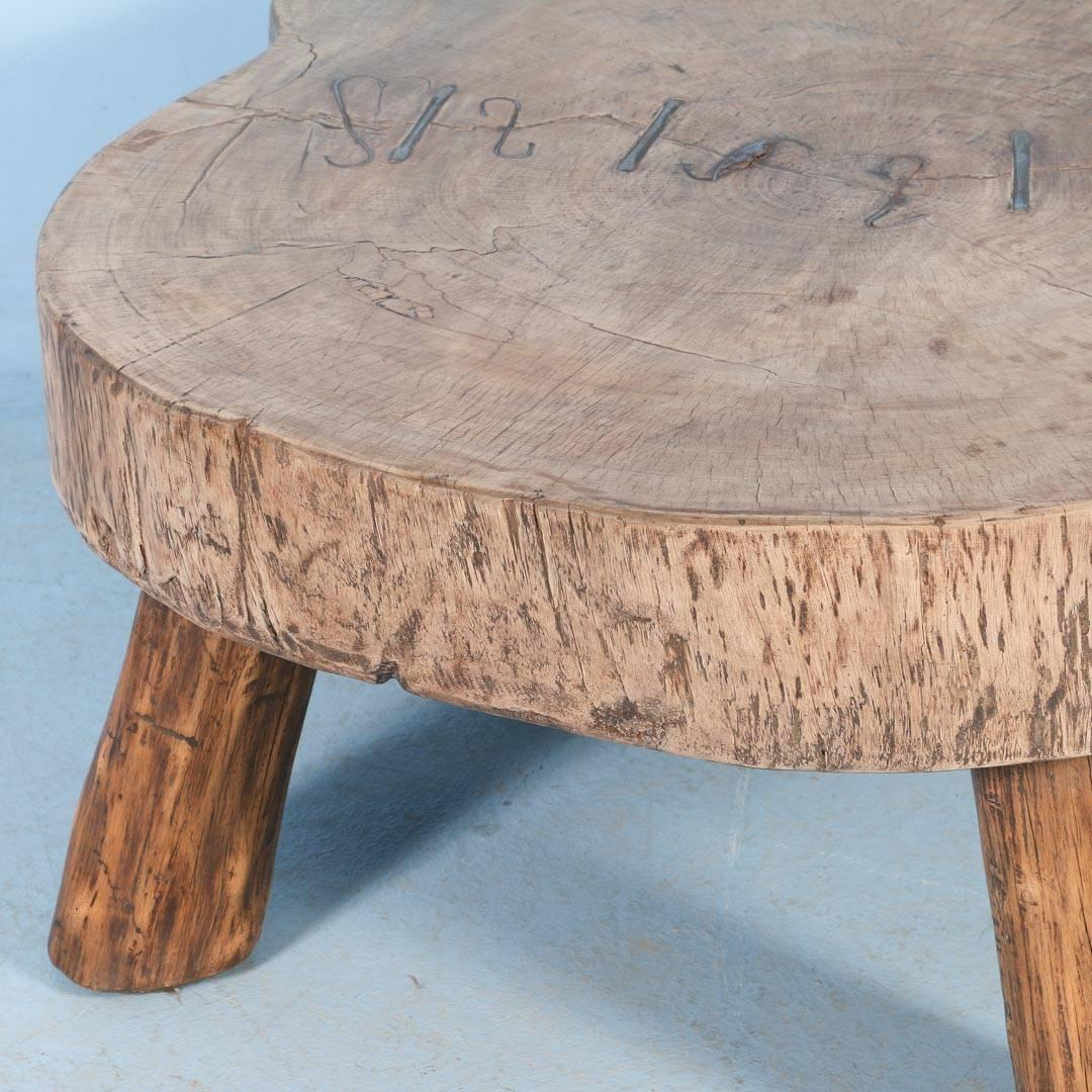 Rustic Antique Coffee Table Made From Large Slab Of Wood