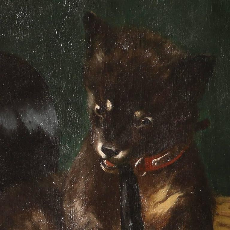 Dog Chewed Up Rug: Original Oil On Canvas Painting, Dog Chewing A Gentleman's