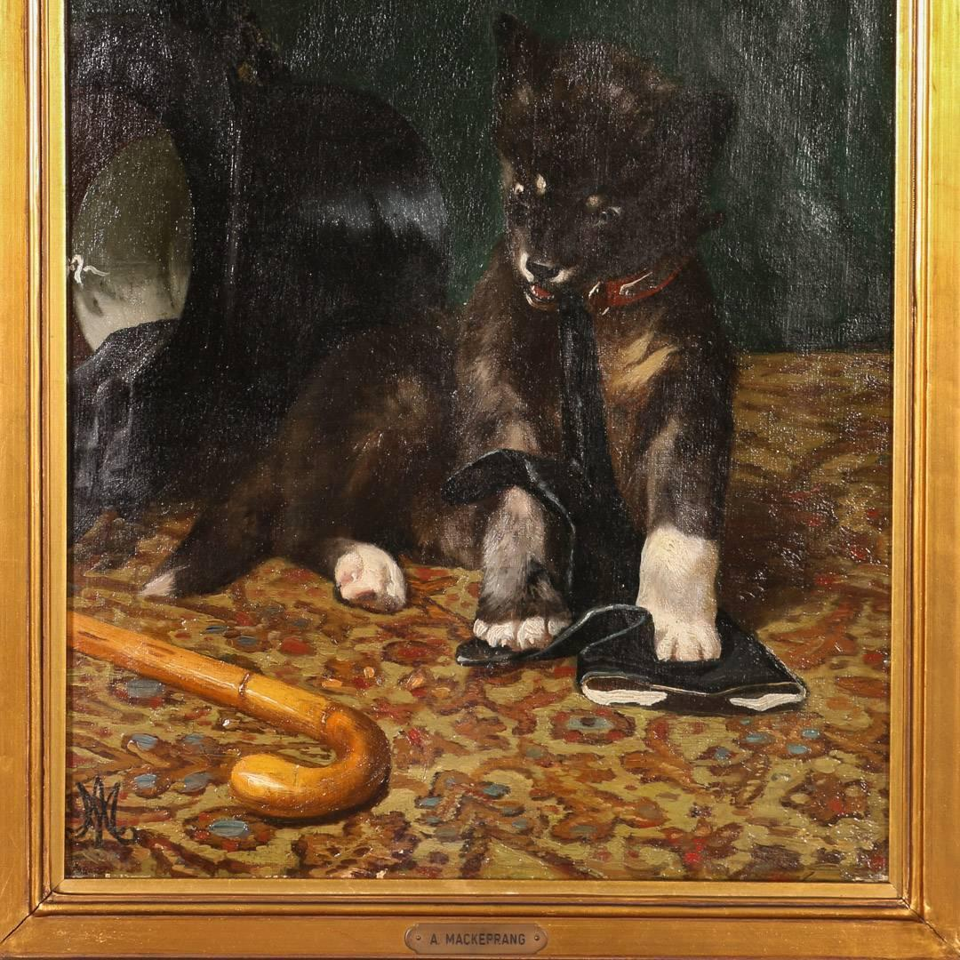Dog Chewing On Rugs: Original Oil On Canvas Painting, Dog Chewing A Gentleman's