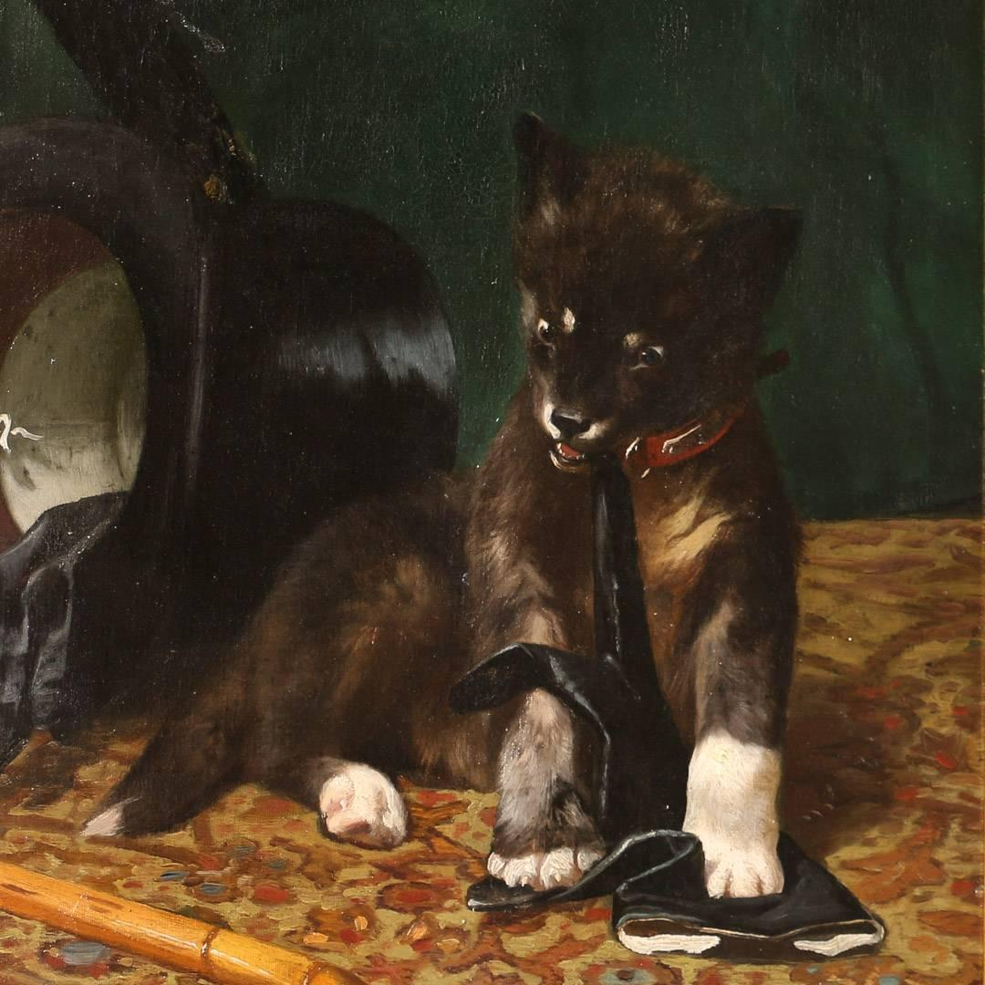 Dog Biting Rugs: Original Oil On Canvas Painting, Dog Chewing A Gentleman's
