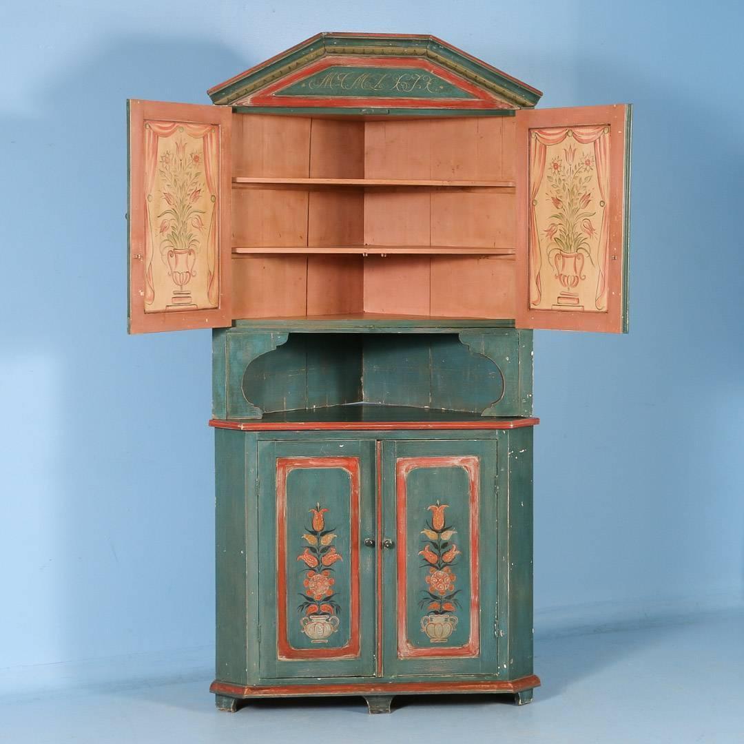 Antique Swedish Original Green Painted Corner Cabinet With