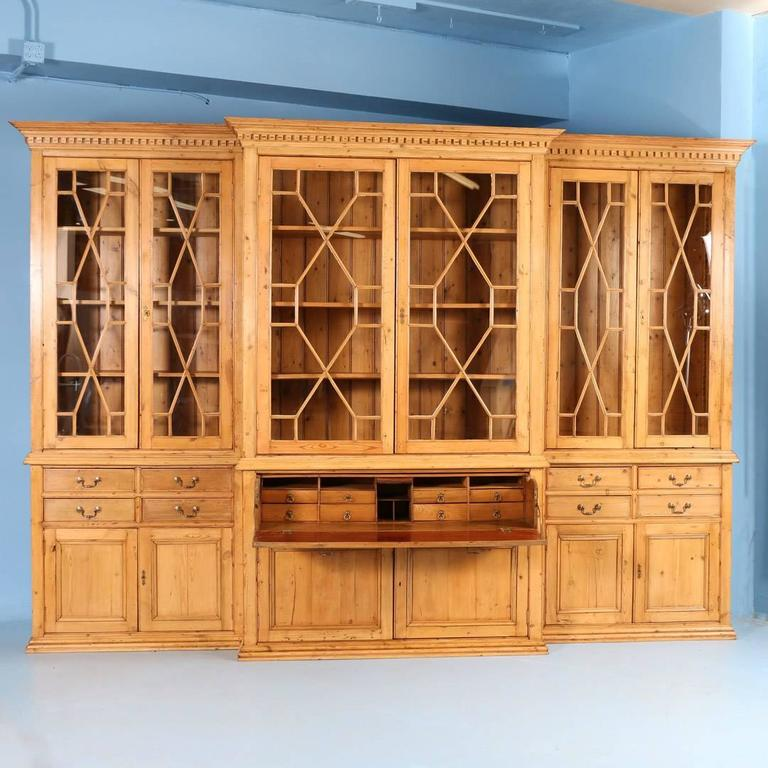 Large Antique English Pine Breakfront Bookcase Circa 1890 2