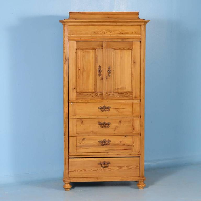 Antique Danish Pine Single Door Armoire, circa 1860 In Good Condition In Round Top, TX
