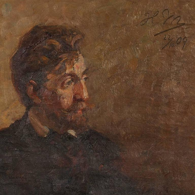 Antique Oil on Canvas Portrait of a Danish Gentleman, circa 1909 In Good Condition For Sale In Denver, CO