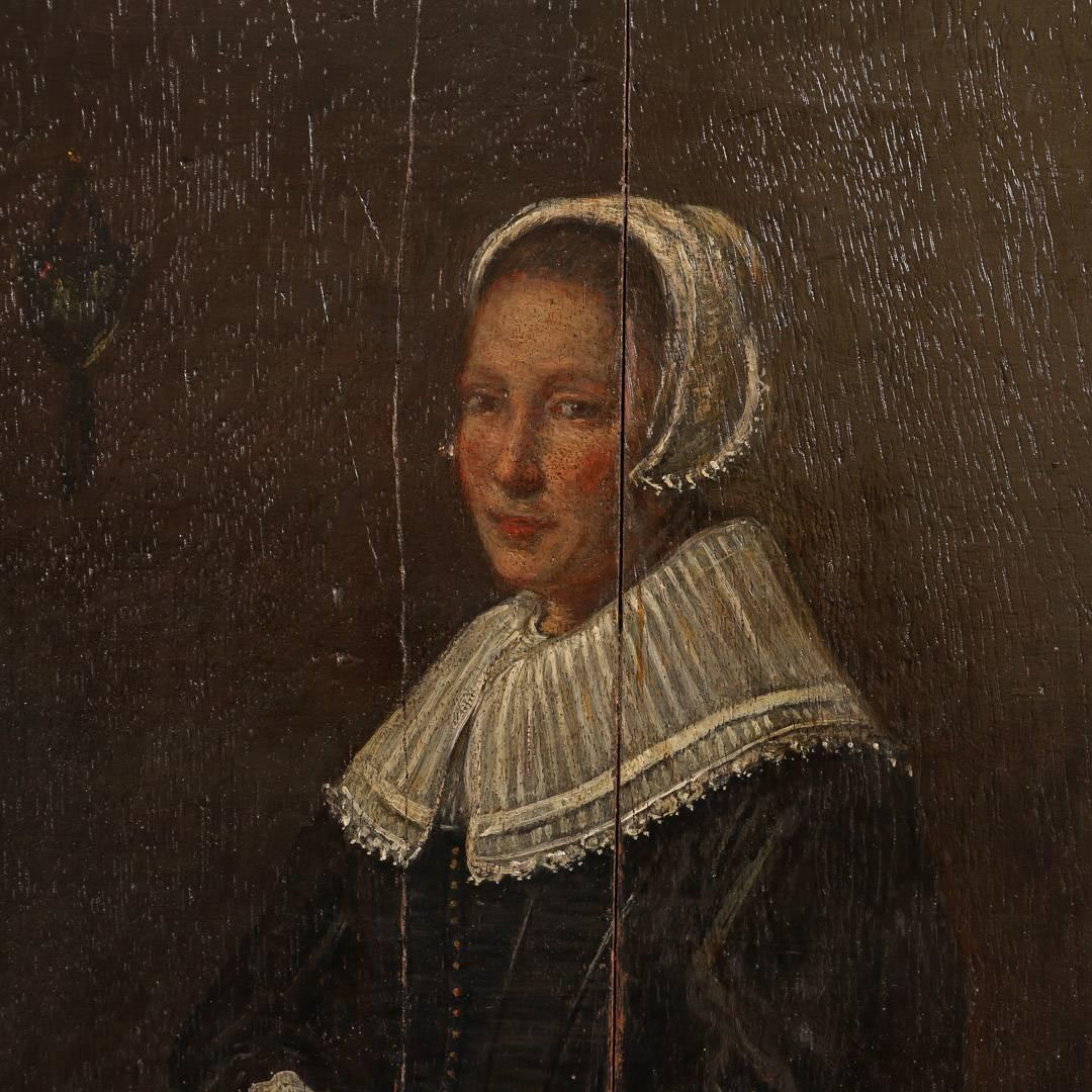 Antique Painting On Wood Panel Portrait Of A Dutch Woman