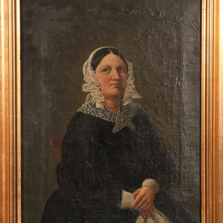 Small Antique Painting, Portrait of a Danish Woman, circa 1840-1860 In Good Condition For Sale In Denver, CO