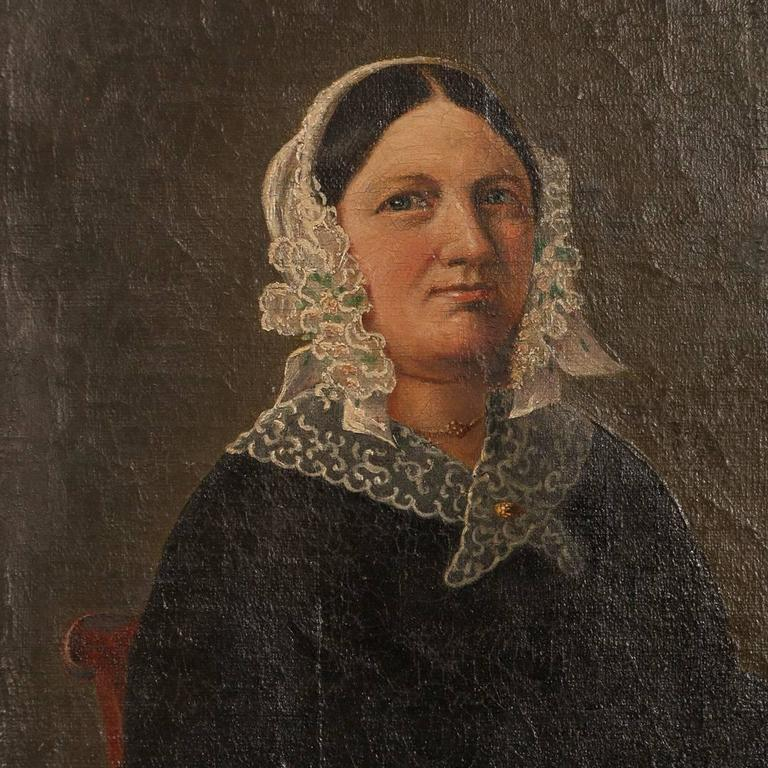 19th Century Small Antique Painting, Portrait of a Danish Woman, circa 1840-1860 For Sale