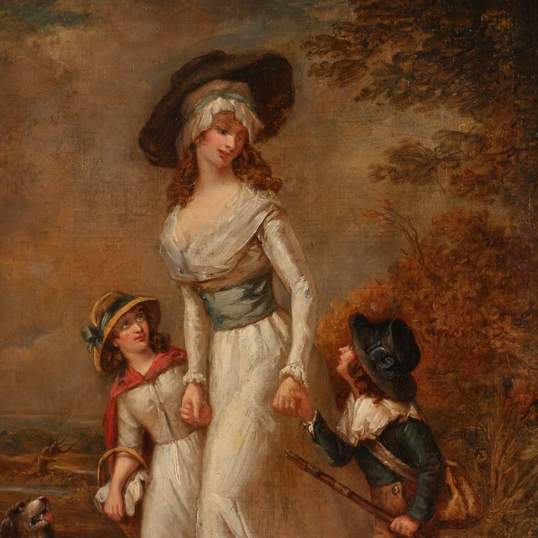 Antique Oil Painting Mother With Children Circa 1790