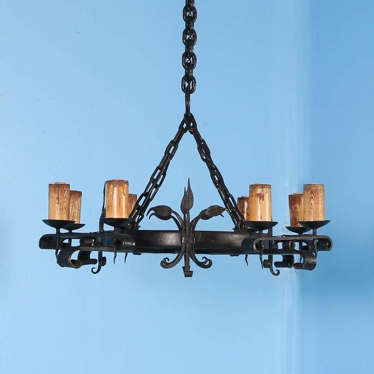 antique black rustic wrought iron danish chandelier circa