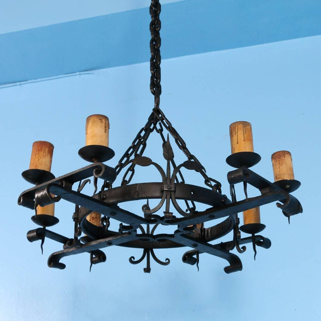 Antique Black Rustic Wrought Iron Danish Chandelier Circa 1910 For Sale At 1