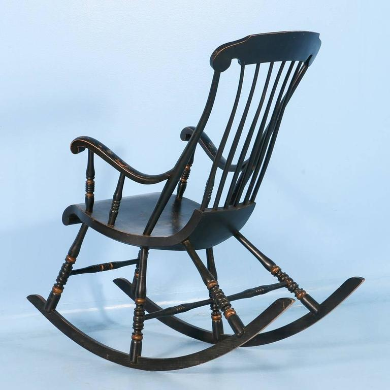Antique Black Swedish Rocking Chair with Original Black Paint, Dated 1911  In Good Condition For - Antique Black Swedish Rocking Chair With Original Black Paint, Dated