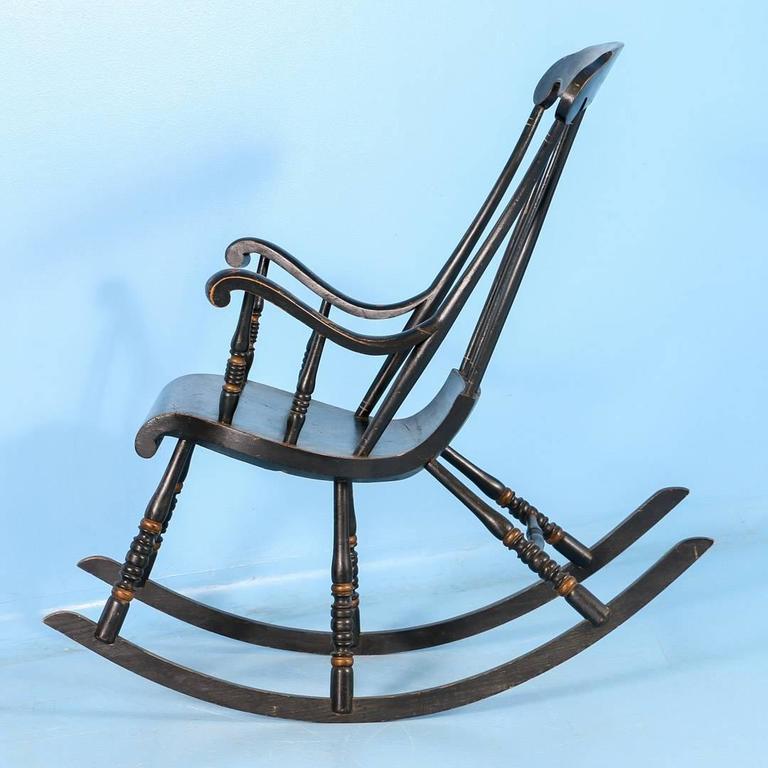 Antique Black Swedish Rocking Chair With Original Black