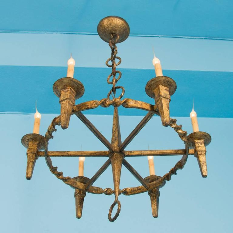Antique danish gilded wrought iron chandelier circa 1910 at 1stdibs antique danish gilded wrought iron chandelier circa 1910 3 aloadofball Image collections