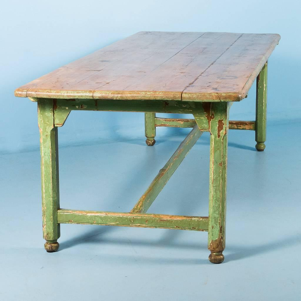 Harvest Dining Room Table: Antique Pine Harvest Table From Sweden, Original Painted