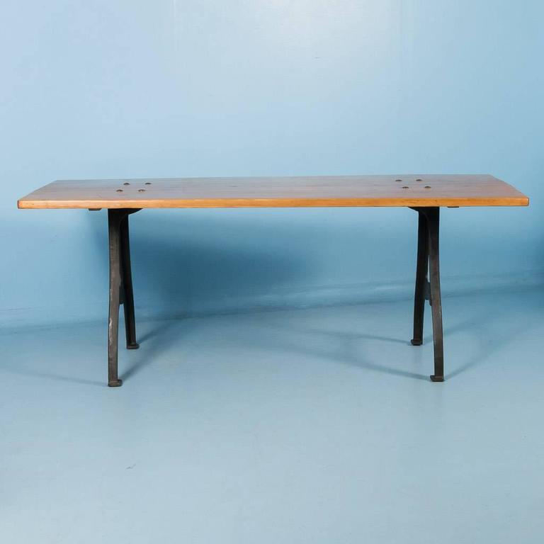 Antique danish pine dining table with cast iron legs for for Old iron table legs