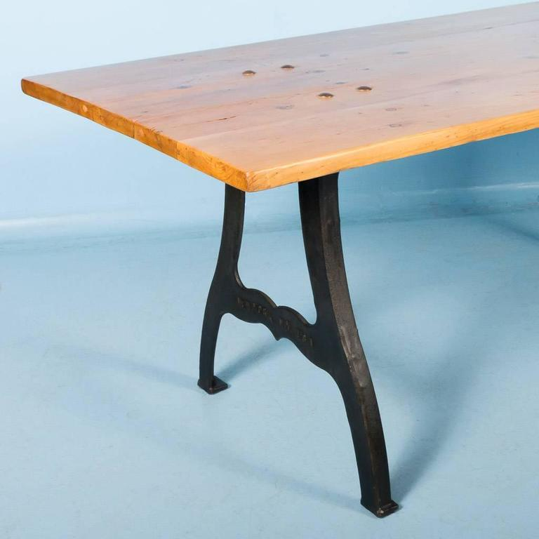 Antique danish pine dining table with cast iron legs for for Cast iron furniture legs for sale