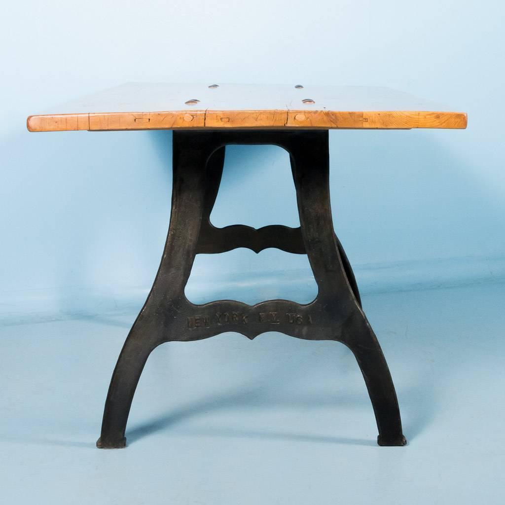 Cast Iron Table Legs For Sale: Antique Danish Pine Dining Table With Cast Iron Legs For