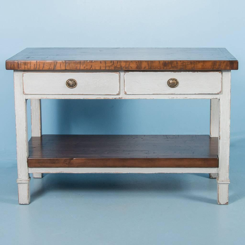 Vintage kitchen island with reclaimed butcher block top for Vintage kitchen island for sale