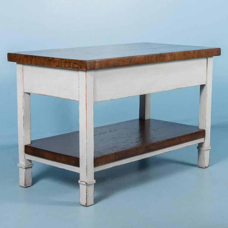 Reclaimed Butcher Block vintage kitchen island with reclaimed butcher block top at 1stdibs