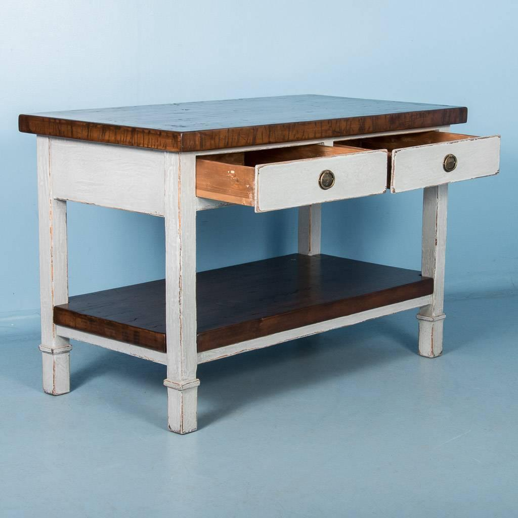 Vintage Kitchen Island With Reclaimed Butcher Block Top