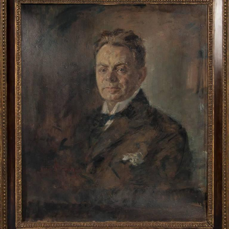 Original signed antique oil painting on artist's board from Germany, portrait of a gentleman, circa 1900-1920. His stiff white collar, black bow tie and pocket handkerchief have the appearance of an early 20th century gentleman of stature. The