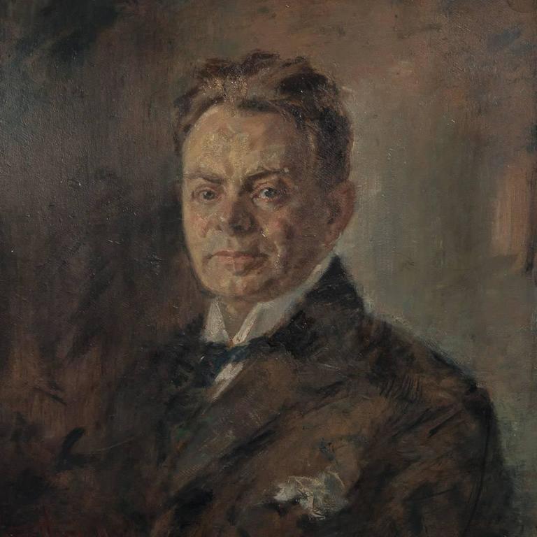 German Original Antique Oil on Canvas Painting Portrait of a Gentleman For Sale