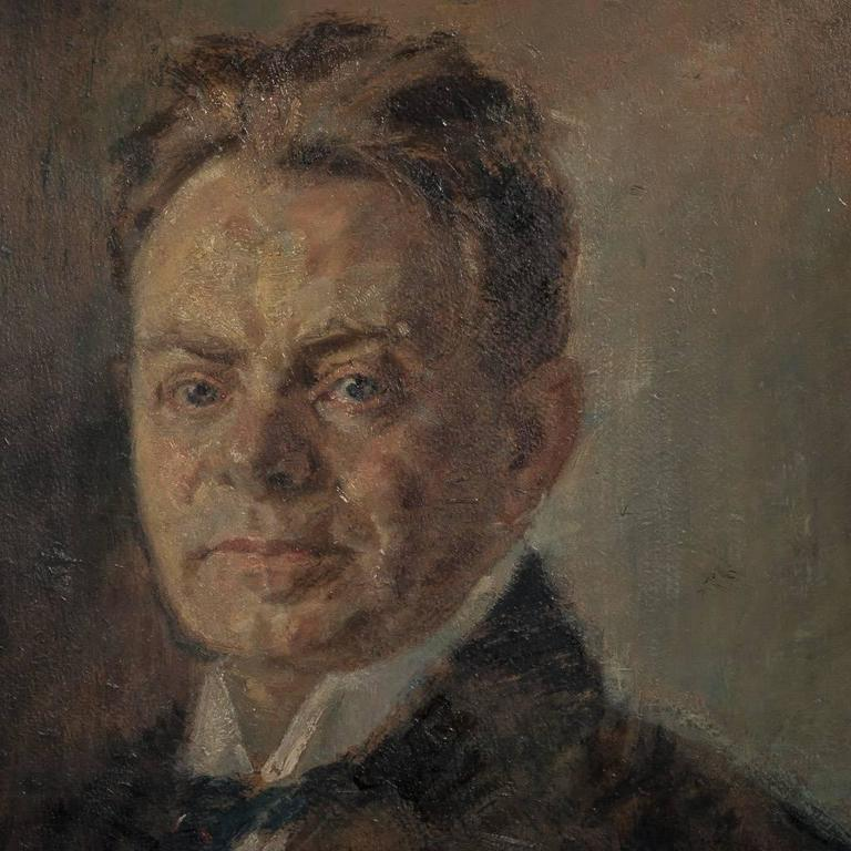 Original Antique Oil on Canvas Painting Portrait of a Gentleman In Good Condition For Sale In Denver, CO