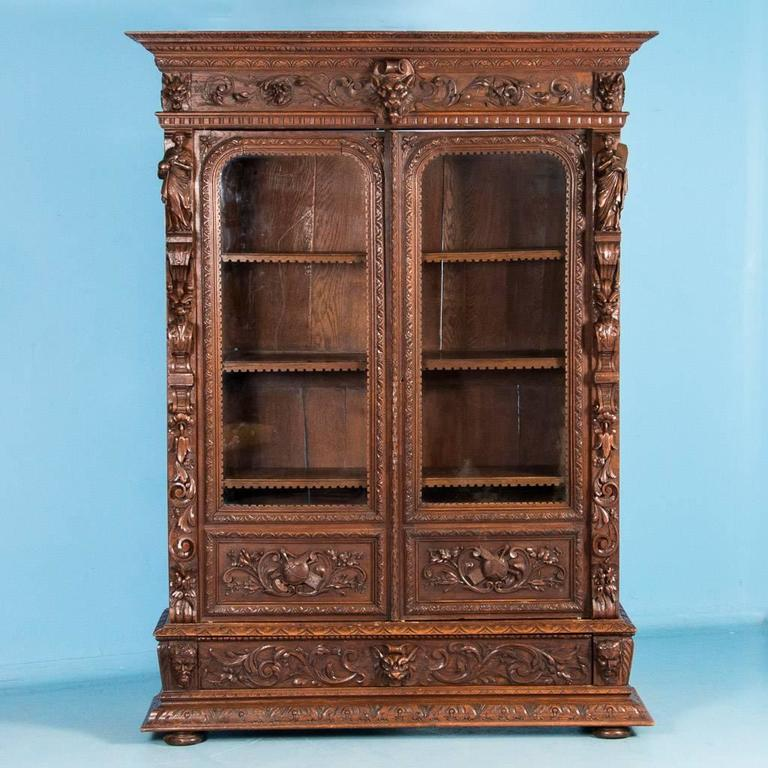 Antique 19th Century Carved American Renaissance Revival Oak Bookcase At 1stdibs