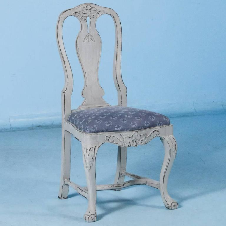 Set of Six Antique 19th Century Swedish Gustavian Dining Chairs with Gray Paint In Good Condition For Sale In Round Top, TX